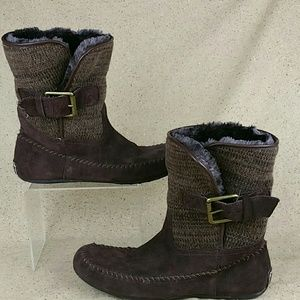 Lucky Brand Knit Ankle Boots Moccasins W 9b